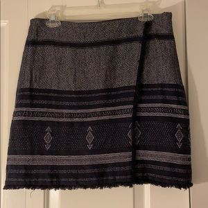 Loft black patterned faux wrap skirt